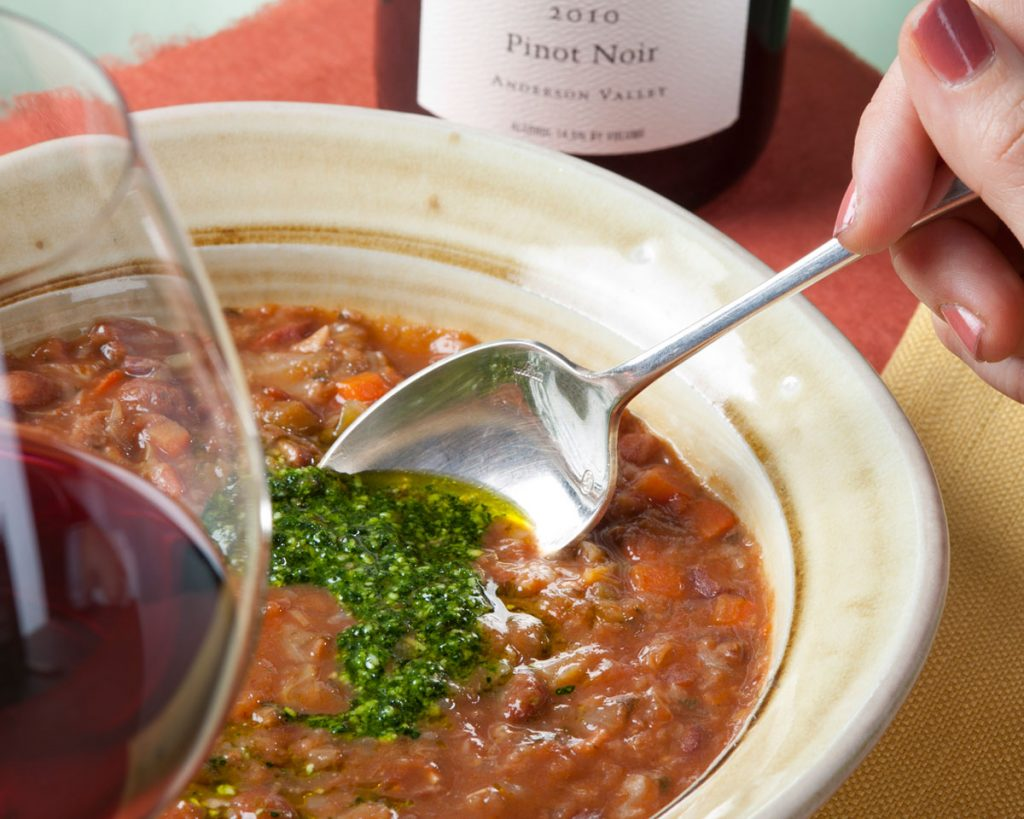 Cranberry Bean, Cabbage, Red Wine Soup with Cavelo Nero Pasta - Cakebread Cellars