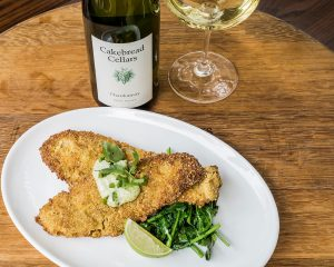 Pumpkin Seed-Crusted Petrale Sole with Cilantro Lime Aioli & Roasted Jalapenos - Cakebread Cellars