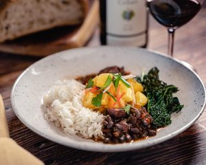 Scott's Brazilian Feijoada with Black Beans, Smoked Ham Hocks, Andouille Sausage, Kale and Steamed Rice
