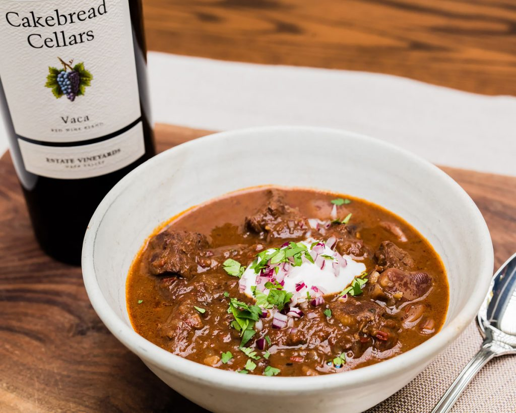 Elk Chili with Mexican Chocolate and Lime Crema - Cakebread Cellars