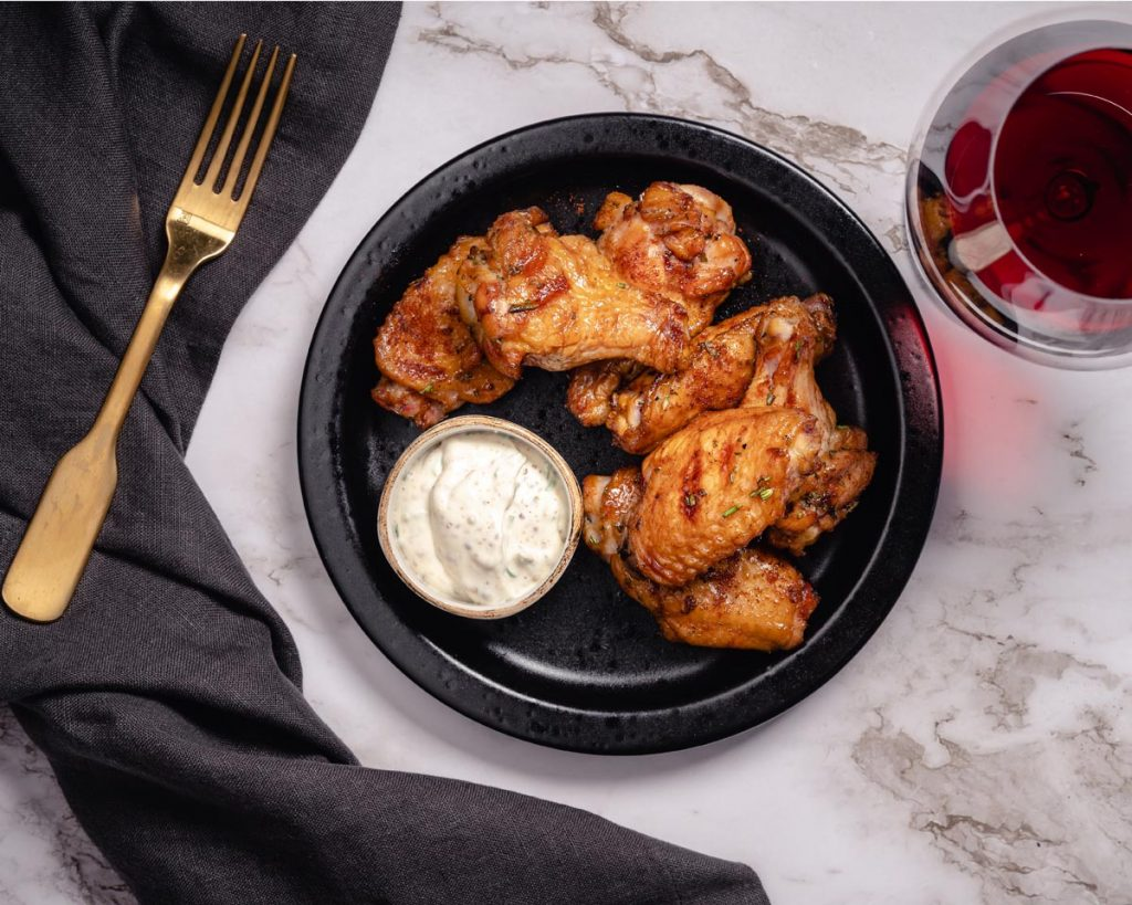 Maple Smoked Chicken Wings with Herbed Crème Fraiche and Chardonnay Salt - Cakebread Cellars