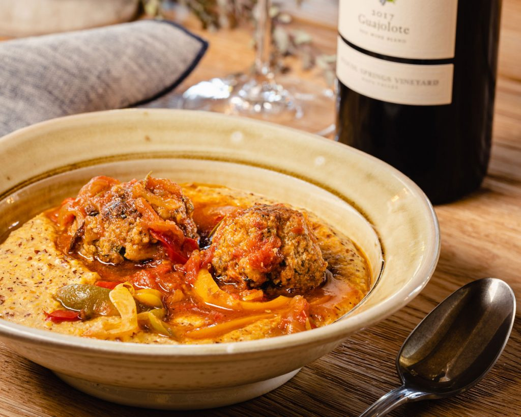 Pork Meatballs with Braised Peppers and Onions - Cakebread Cellars