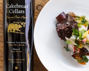 Red Wine Braised Short Ribs with Shaved Vegetable and Herb Salad - Cakebread Cellars