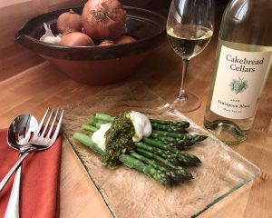Asparagus with Burrata and Pistachio Salsa Verde - Cakebread Cellars