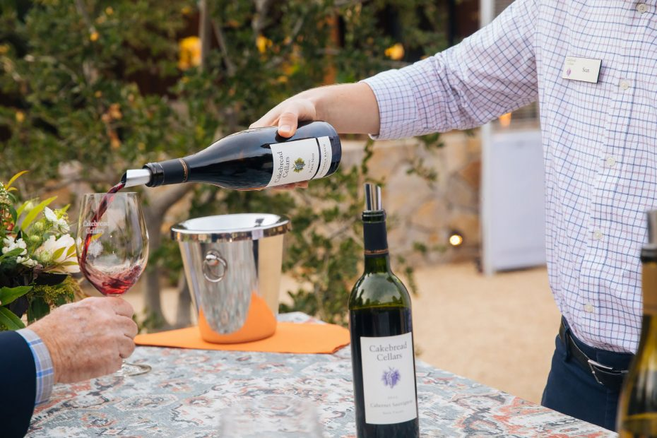 Guest being poured wine tastes at Visitor Center Grand Opening Party October 2019